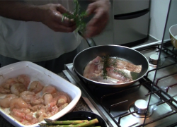 A weekend in Sao Paulo – Snook with Langostinos, Shrimps, Asparagus and Mushrooms
